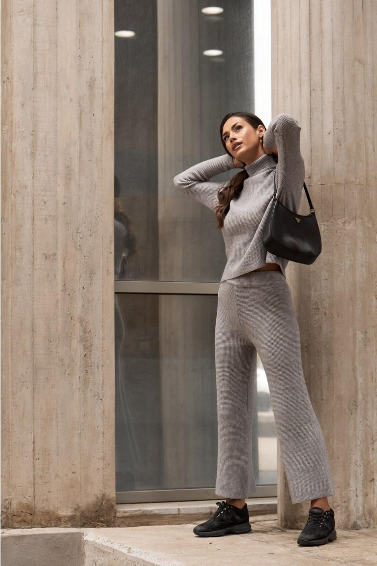 Σετ μπλούζα με παντελόνα zip πλεκτή